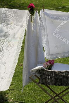 Laundry Day ***The tablecloth on the left is stunning.