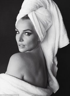 Revealing: Britney Spears posed wrapped in a towel in a sultry image by celebrity photographer Mario Testino