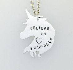 Believe in Yourself Unicorn Necklace feminist by crobinsondesign