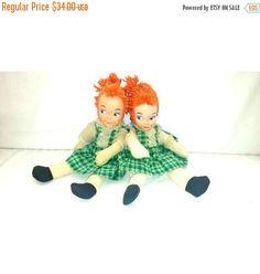 Vintage  Mask Face Baby Dolls,Set of 2,Mask Face Twins,Vintage Twin Dolls,Ginger Dolls,Freckles,Cloth Doll,Plushie Doll,Side Glancing,1940s by JunkYardBlonde on Etsy