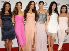 "Actresses Judy Reyes, Ana Ortiz, Dania Ramirez, Roselyn Sanchez, Edy Ganem and Eva Longoria attend the premiere of ""Devious Maids"" which was just renewed for a second season!"
