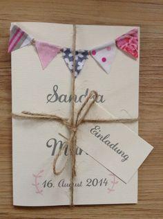 Rustic Wedding Invitation With Bunting / Einladung Hochzeit Mit Wimpelkette