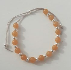 Pretty orange/ tan coloured aventurine and silver bracelet. Pair with brown accessories for the perfect combination. PRIMO Collection.  #new #bracelet #orange #tan #silver #pretty #delicate #fridayfeeling