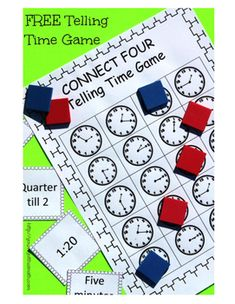 to Practice Telling Time With A Fun, Easy Game Free printable game for telling time. Great practice for my second graders.Free printable game for telling time. Great practice for my second graders. Fun Math, Math Games, Math Activities, Maths Resources, Literacy Games, Telling Time Games, Telling Time Activities, Math Measurement, Second Grade Math