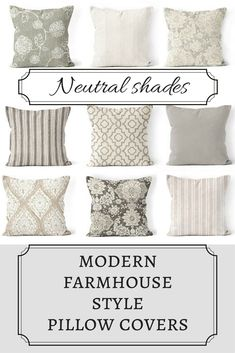 Mix and match farmhouse pillow covers Coordinating neutral designer fabric. Zipper closure on bottom of pillow for easy removal Snugly fits over a pillow form.Fabric is printed on both sides of the pillow cover. 12x12, 14x14 or 16x16 in. #farmhouse #pillowcovers #ad #etsy #etsyfinds