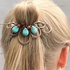 Wire wrapped turquoise bead hair barrette.Craft ideas from LC.Pandahall.com