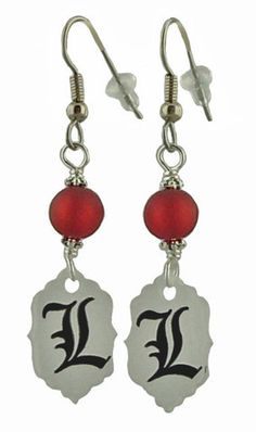 Unique Creations — L Earrings,   anime manga jewelry,  Death Note