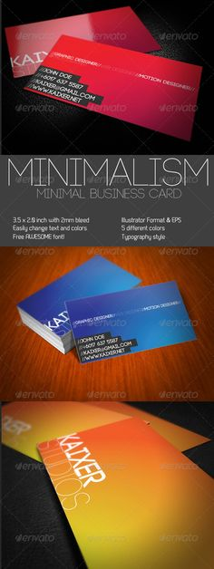 Minimal Style Business Card  #GraphicRiver            Minimal Business Card Templates is very easy to customize. Come with minimal style and it's easy to change the text and color.   Font used : Free Font from FONTFABRIC    Code – fontfabric /code-free-font-3/  Featured Item on Creattica!    Presentation Templates                Awesome Bundles       Business Cards                             Corporate Identity           Creative Resumes       Add-ons       Created: 10April11…