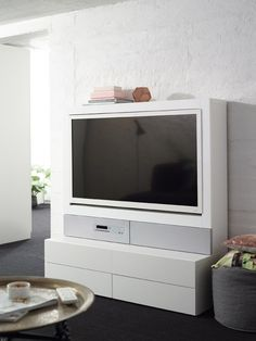 i cant tell if i like this or if its too minimalist? Tv Nook, Ikea Ideas, Living Spaces, Living Rooms, Ikea Hacks, My Dream Home, House Ideas, New Homes, Minimalist
