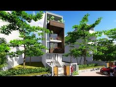 Sketchup 4 stories Narrow House design House size 4,4x16m - YouTube