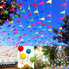 Colorful Triangle Hanging Pennant Flags String Banner Buntings Birthday Party Supplies Kindergarten Camping Site Decoration 40m