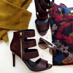 Bordeaux Leather Cage Heels Details: • Size 8 • Leather and suede  • Side zip with gold hardware  • Brand new in box   10261505 Charles David Shoes Heels