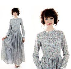 70s Prairie Dress Vintage Victorian 60s Pale by neonthreadsdesigns, $56.00