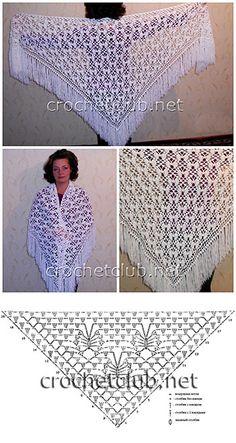 Crochet Lace Shawl free crochet graph pattern by Louise EllisPretty lace shawl but chart is unreadable. Crochet Shawls And Wraps, Crochet Scarves, Crochet Clothes, Lace Shawls, Crochet Shawl Diagram, Filet Crochet, Crochet Granny, Hand Crochet, Thread Crochet
