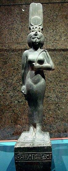Statue of the God's Wife of Amun and Divine Adoratrice of Amun, Ankhnesneferibre.God's Wife of Amun was the highest-ranking priestess of the Amun cult,an important religious institution in ancient Egypt.
