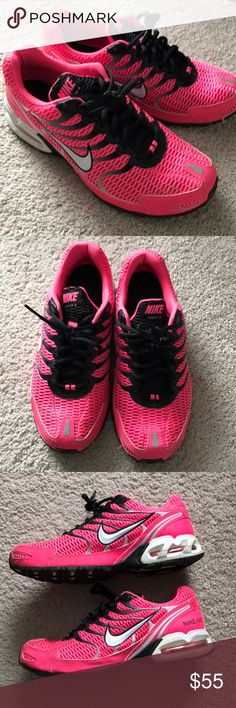 Nike Air Max Torch 4 running shoes 9 Nike Air Max Torch 4 running shoes. Ladies size 9. Pink, black and white. Light wear, good condition! Bundle and save! Nike Shoes Athletic Shoes