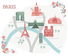 Illustrated map of Paris by Studio Brun / Studiobrun.nl