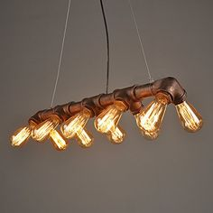 Lightess Vintage Industrial Pendant Ceiling Light Steampunk Lamp, Retro Metal Water Pipe Edison Lights Chandelier, Copper Finish