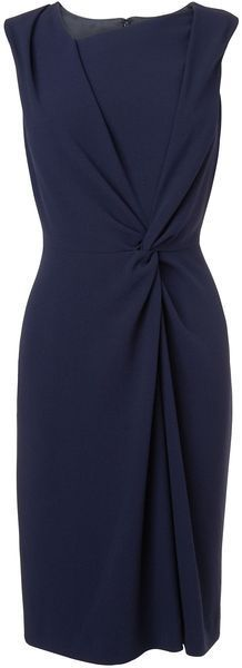 Women's navy pencil dress with side twist. Sheath work dress is comfortable and sleeveless!