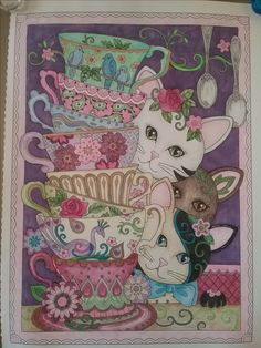 Cat Coloring Page, Adult Coloring Pages, Creative Haven Coloring Books, Wal Art, Psychadelic Art, Colouring Techniques, Cat Colors, Christmas Cats, Fabric Painting