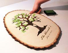 #Wedding guest book  #tree slice guest book