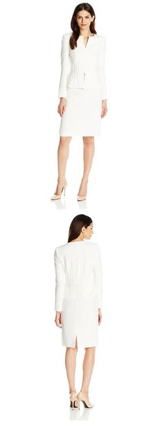 TAHARI ASL WOMEN'S CREPE SKIRT SUIT WITH PINTUCKS---------- Color:  Ivory White----- 97% Polyester, 3% Spandex----- 4 hook and eye closures-------- Pin tucks at waist--------- Classy,Well Fitted,Vintage Suit for Business Work and Professional Purposes----------- Modern,Elegant Suit for Spring/Summer of 2016------------