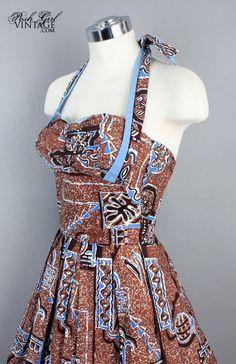 Alfred Shaheen Blue Hawaiian Print Dress - M Blue Hawaiian, Vintage Hawaiian, Hawaiian Print, Pin Up Dresses, Fabulous Dresses, Vintage Girls Dresses, Vintage Outfits, Made Clothing, Vintage Clothing
