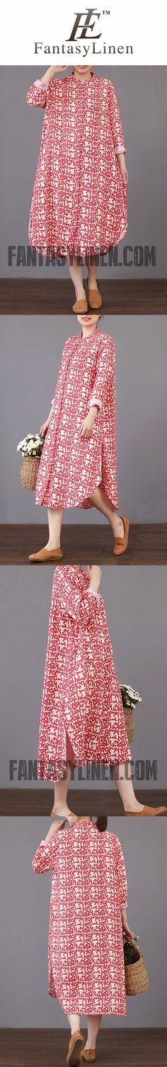 FANTASYLINEN LITERARY LOOSE COTTON DRESS, FASHION STYLE STAND COLLAR DRESS Q3018