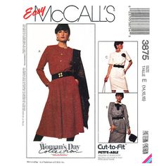 Womens Dress Pattern McCalls 3875 Buttoned by finickypatternshop