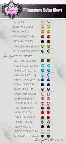 Foxyware Rhinestone Color Chart