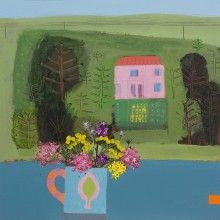 Emma Dunbar Pink House acrylic 46 x 46cm  available from www.cornwallcontemporary.com