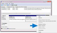 """Paso 2 para instalar windows 8 en un disco duro : Da un clic derecho y en el menú selecciona: """"Reducir volumen"""""""