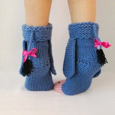 Eeyore knitted socks , the donkey from Winnie the Pooh! Socks - Toy. Adult size…