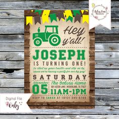 """Tractor Birthday Invitation // Green and Yellow // 5""""x7"""" // Personalized Printable Invitation by AsterLaneDesign on Etsy https://www.etsy.com/listing/492710706/tractor-birthday-invitation-green-and"""