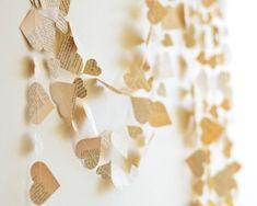 to diy: Paper Heart Garland from Vintage Book, rehersal dinner, romantic home decor, 20 feet long, custom lengths, wedding decoration