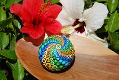 Hand painted mandala sphere 11/ Colorful ball by Mandalaole