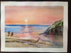 Original-Signed-Watercolor-by-C-Finance-California-Artist-Beach-Horizon