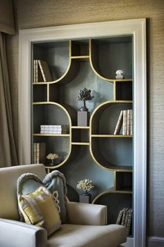 ▷ 1001 + captivating interior art deco ideas to recreate at home - Art Nouveau-Art Deco-shelf library-style-art-deco-great-beige chair - Art Deco Decor, Salon Art Deco, Motif Art Deco, Art Deco Design, Art Deco Style, Design Studio, Art Deco Art, Art Deco Pattern, Home Decoration