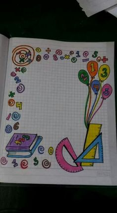 Drawing Borders, Doodle Borders, Borders For Paper, Boarder Designs, Page Borders Design, Math Border, Project Cover Page, Front Page Design, Notebook Cover Design