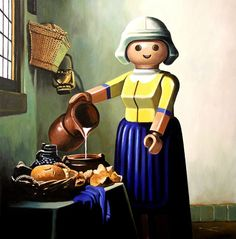 Playmobil Inspired by 'The Milkmaid' of Johannes Vermeer Play Mobile, Mobile Art, Johannes Vermeer, Most Famous Paintings, Famous Artwork, Classic Paintings, Art And Illustration, Arte Popular, Freelance Graphic Design