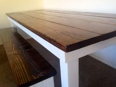 Farmhouse wood table with bench by MarktheCarpenter.com