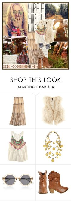 """""""oh so hippie"""" by lifestyle-ala-grace ❤ liked on Polyvore featuring BasicGrey, Calypso St. Barth, H&M, Kenneth Jay Lane, Illesteva, Wet Seal, maxi skirts, faux fur vests, leaher boots and tank top"""