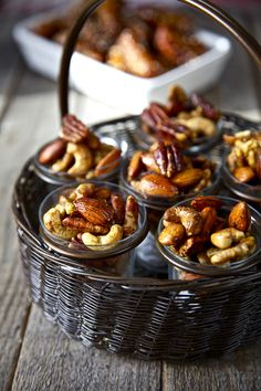 """Indian Spiced and Roasted Nuts,"" via Donal Skehan -- ""Roasted nuts have to be the most simple addition to a Christmas party spread. I have experimented with different spices and flavors and these Indian spices are really an interesting addition."" Recipe is at the click-through; in addition to the normal salt and oil, this has ginger, garam masala, cumin, and cayenne pepper."