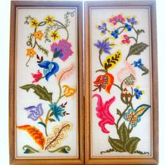 vintage crewel work. <- I have two just like these that I found in an antique shop, in the bargain basement. Treasure <3