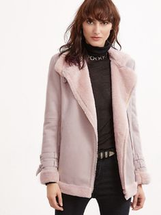 Pink Belted Collar And Cuff Asymmetric Zip Faux Shearling Jacket