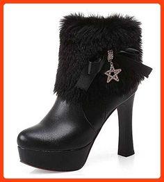 CHFSO Women's Elegant Solid Rhinestone Faux Fur Round Toe Zipper Chunky High Heel Platform Boots Black 10.5 B(M) US