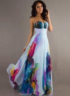 Vestidos Poliéster Bloques de colores Hasta los tobillos Sin mangas (1029021) @ floryday.com