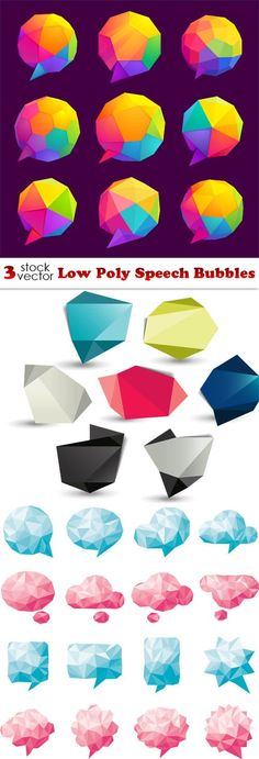 Vectors - Low Poly Speech Bubbles