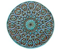 Moroccan wall decor made from ceramic – exterior wall art – moroccan art – round moroccan wall hanging – ceramic tile – moroc4 – turquoise