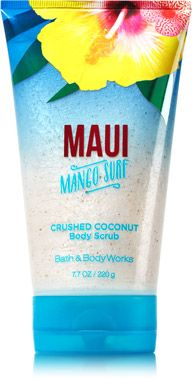Maui Mango Surf Crushed Coconut Body Scrub - Signature Collection - Bath & Body Works omg I have to take a business trip to Hawaii soon so I think taking this would be awsome Bath Body Works, Bath And Body Works Perfume, Bath N Body, Perfume Body Spray, Coconut Body Scrubs, Coconut Scrub, Maui, Hawaii, Fragrance Lotion